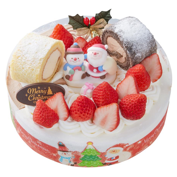 シャトレーゼクリスマスケーキXmas 2つの味が楽しめるデコレーション